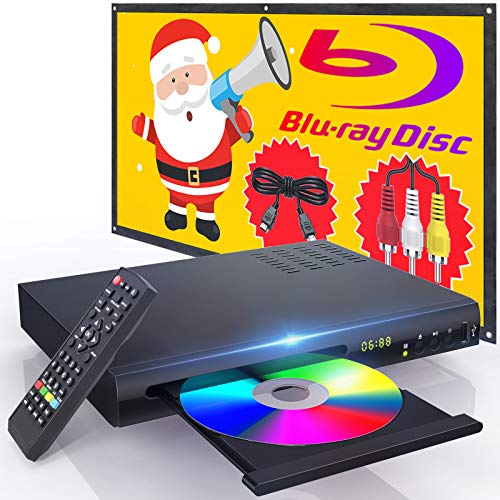 New Blu-Ray DVD Player, with HDMI AV Cables, Home Theater HD Disc Player with Remote Control, CD Player with Built-in PAL NTSC System, Coaxial Jack USB Input, Blu-Ray Region A Standard DVDs Support