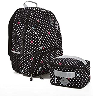 Fit & Fresh Backpack for Kids & Teens with Matching Insulated Lunch Bag, for School and Sports, Black & White Petal Dot