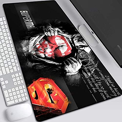 ZDVHM Superman Gaming Mouse Pad Oversized Extended Keyboard Mouse Mat Game Mousepad Cafe Mat for Office Home Non-Slip PC Desktop Table Mice Pads (Color : S, Size : 8003003mm)