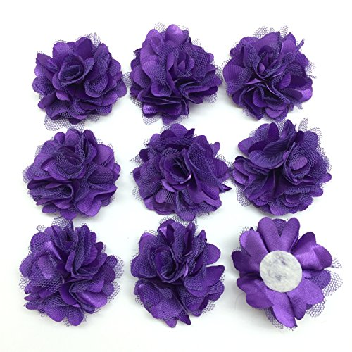 PEPPERLONELY 10PC Set Purple Lace Chiffon Peony Fabric Flowers, 2 Inch