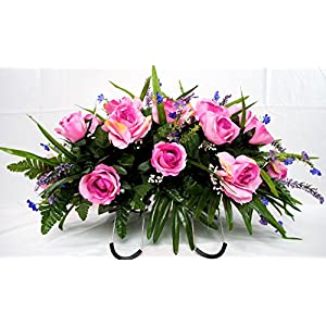 Pink Rose Spring Cemetery Flowers for Headstone and Grave Decoration-Pink Rose with Purple Accent Mix Saddle