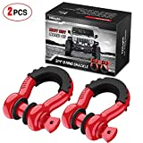 Nilight 2 Pack 3/4' D-Ring Shackle 4.75 Ton (9500 Lbs) Capacity with 7/8' Pin Heavy Duty Off Road Recovery Shackle with Isolators & Washer Kit for Jeep Truck Vehicle, Red (90053B)