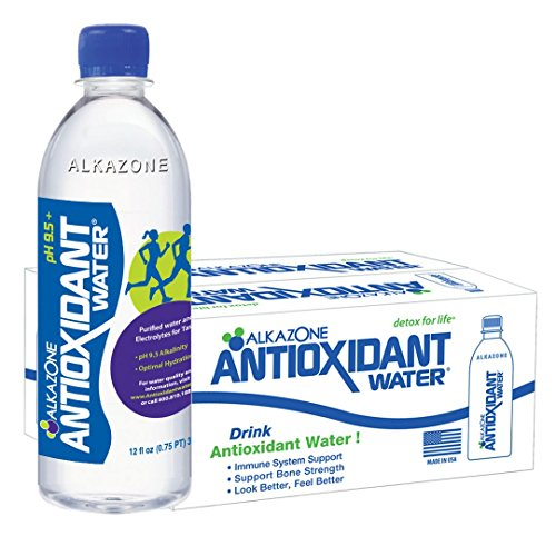 Alkazone Antioxidant 9.5 pH Alkaline Bottled Water, 12 oz, (Pack of 24)