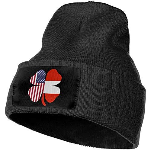Cgi04T-5 Casual Woolen Cap for Mens and Womens, 100% Acrylic Acid American Austrian Flag Shamrock Ski Cap Black