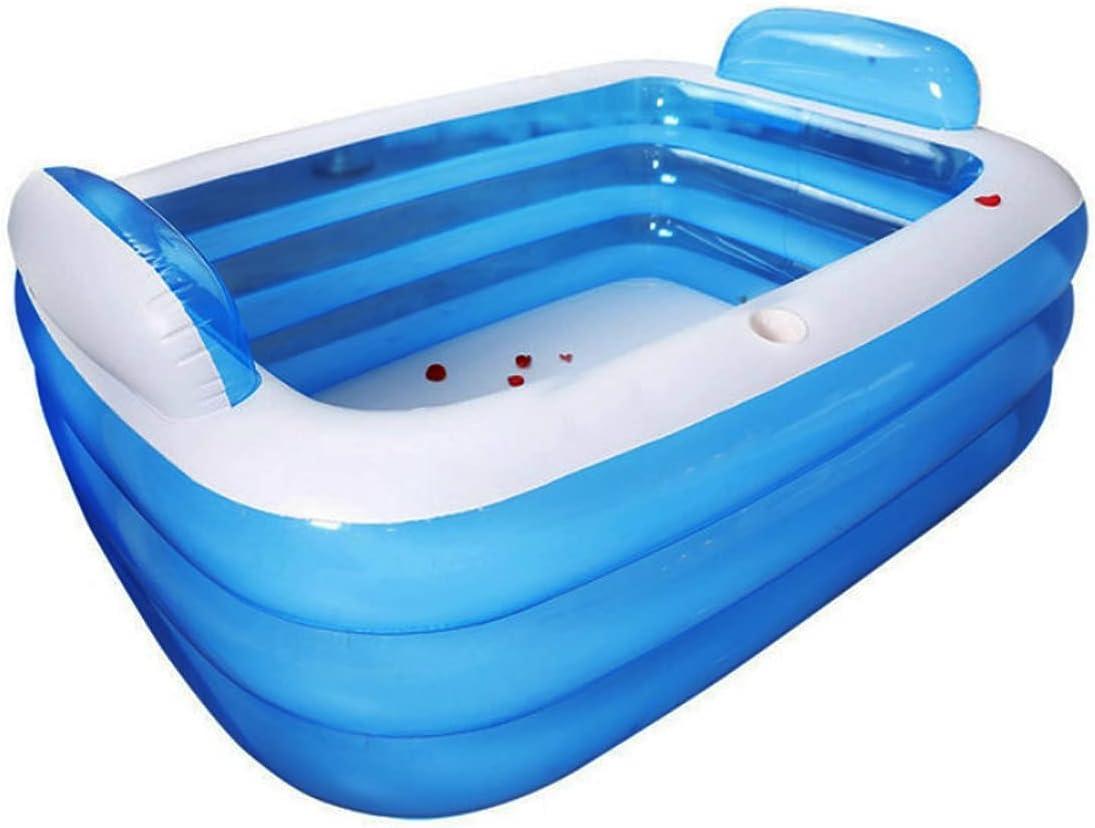 TrendClub100® Piscina hinchable de PVC para niños y adultos, piscina de exterior, piscina de pie, óptima para jardín, terraza, balcón, rectangular, azul (140 x 100 x 40 cm)