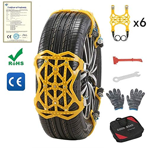 S SMAUTOP Cadenas de Nieve para Automóviles Universales Cadenas de Neumáticos 6 Piezas Antideslizante Universal para Neumáticos Ancho 165-285 mm (Amarillo)