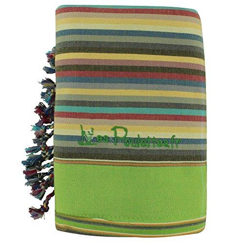 LES POULETTES Kikoy Strandtuch aus Baumwolle Streifen - Farbe Grün Gelb