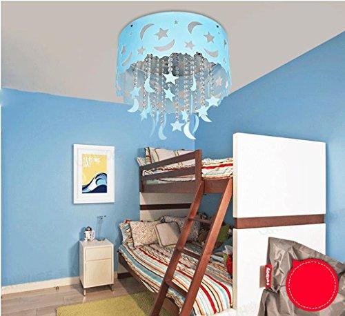 Lily's-uk Love Blue Star Moon Cottage Lumière de plafond en cristal Salle de séjour Chambre d'enfant Chambre à coucher Éclairage LED
