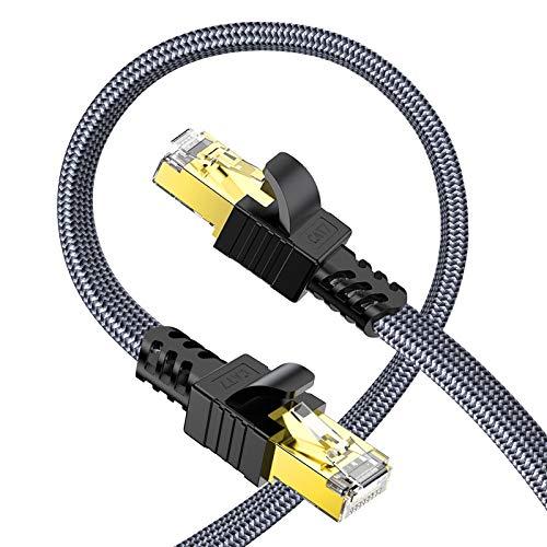 Snowkids Cavo Ethernet 5m, Cat7 Cavo di Rete Alta velocità 10Gbit/s 600MHz Cavi STP Piatto Nylon Placcato Cavo LAN RJ45 Gigabit Cavo Patch Compatibile con PS5 Router Modem Switch TV Box PC PS4