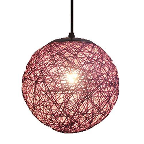 Handmade Rattan Ball Pendant lamp Shades Globe Bamboo Chandelier lampshade E27 Wicker Ceiling Hanging lamp lamp for Kitchen Bedroom Bathroom Indoor Living Room Decor (Purple)
