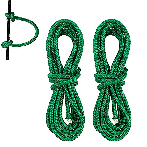 HRCHCG 39 inch Compound Bow D Loop Rope Bowstring Release D Ring Buckle Archery U Nocking Rope Release Aids Accessories (Pack of 2 Green)