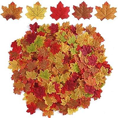 Beferr 250 PCS Mixed Color Autumn Artificial Ma...