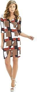 Mussi Vestido con Escote V, Manga ¾,Envolvente en el Talle Delantero, faldón Diagonal simula Abertura.