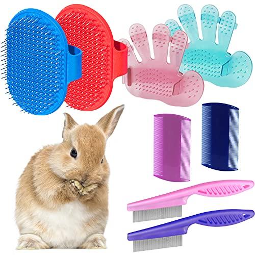 Kit de toilettage 8 pièces pour lapin, brosse à shampooing pour lapin, brosse à poils d'animaux, brosse de toilettage pour lapin, cochon d'Inde, hamster, petits animaux