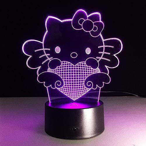 Colorido tridimensional lindo gato 3D lámpara de mesa LED bombilla luz humor noche USB lámpara de mesa niña lámpara de sueño | Lámpara de mesa pequeña 3D de regalo de luz visual
