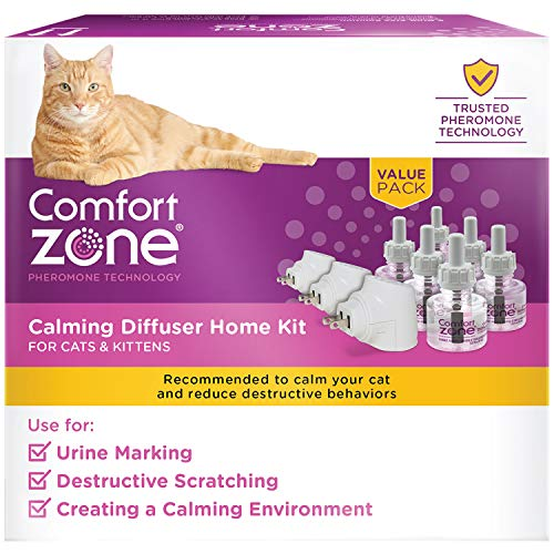 Comfort Zone Cat Calming Diffuser Kit, Cat Pheromone Spray, 3 Diffusers and 6 Refills, New Formula