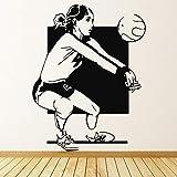 Tianpengyuanshuai Calcomanía de Pared Deportiva para Mujer, Juego de Voleibol, Pegatina de Vinilo, Dormitorio para niña, decoración de Gimnasio, Hermosa niña, Mural 51x82 cm