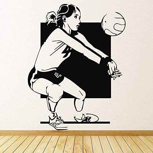 Calcomanías de pared deportivas para mujeres juego de voleibol pegatinas de vidrio para ventana de vinilo dormitorio de niñas gimnasio decoración de interiores mural de niña hermosa