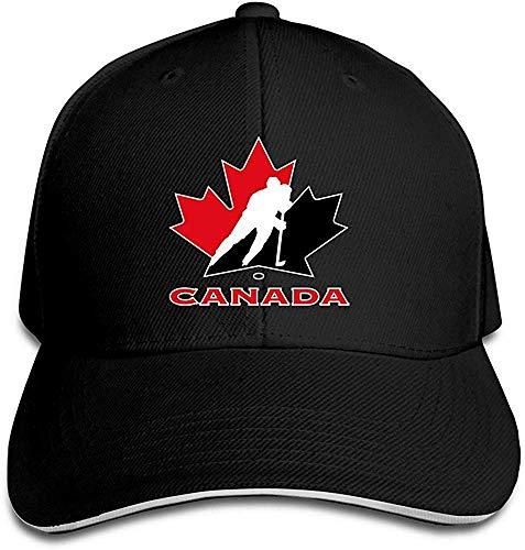 Suxinh YHittings Unisex Canada National Ice Hockey Team Logo Adjustable Peaked Baseball Caps Hats Black