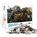 OKJK Puzzle para Adultos 1000 Piezas Transformers Bumblebee póster de película Rompecabezas de Madera Serie Animada milagrosa 75x50cm