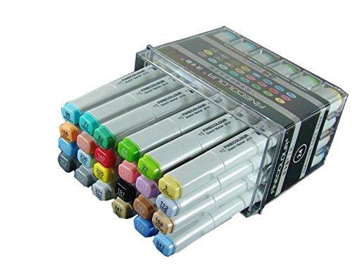Lanxivi® Entwurfsqualität finecolour Marker 24Farben Set Künstler notwendig brushwork