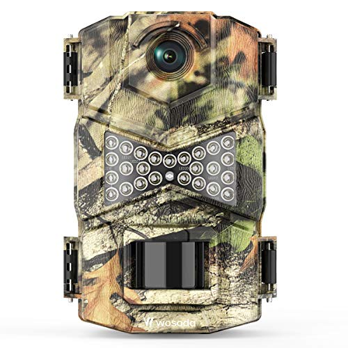 WOSODA Trail Camera, Waterproof 16MP 1080P Hunting Game Camera, Wildlife Camera with IR LEDs Night Vision, for Home Security Wildlife Monitoring Hunting