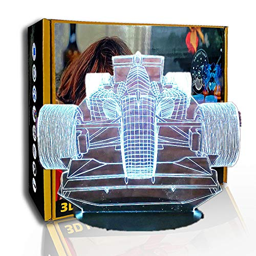 JINYI Equation Race Car 3D Illusion Lamp, LED Night Light, Decor Gift, D - Remote Crack White(7 Color), Christmas Gift, 7 Color Changing, Gift for Friend, Colorful Change, USB Powered