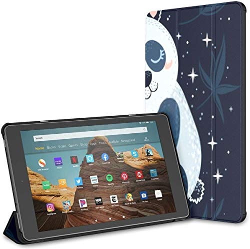 Case for All-New Amazon Fire Hd 10 Tablet (7th and 9th Generation,2017/2019 Release),Slim Folding Stand Cover with Auto Wake/Sleep for 10.1 Inch Tablet, Panda Pink Planet Isolated On Dark