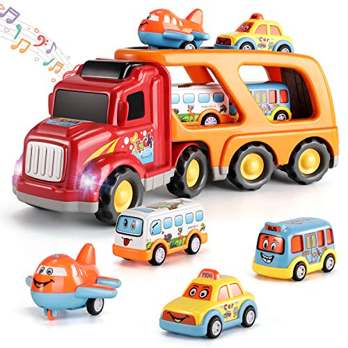 Temi Carrier Truck Transport Car Play Vehicles Toys - 5 in 1 Friction Power Set w/ Real Siren Sound & Bright Flashing Light, Push and Go Play Vehicles Toys w/ Mini Cartoon Bus/Taxi/Airplane