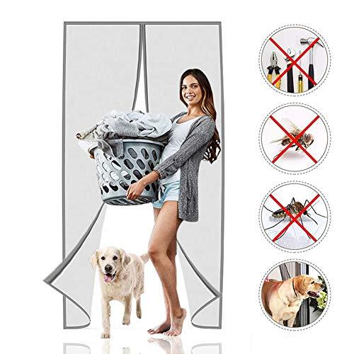MENGH Cortinas mosquiteras para Puertas 95x210cm, Mosquitera Magnética para Puertas, Apagar Automáticamente, Cortina Ultrafina, para Pasillos/Puertas - Gris