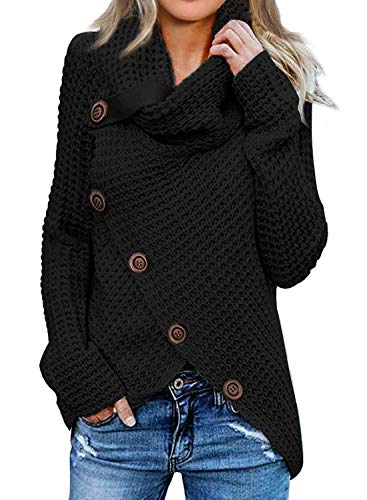 Itsmode Womens Chunky Turtle Cowl Neck Plain Wrap Asymmetric Hem Long Sleeve Sweater Coat Button Oversized Jumper Autumn Black Medium
