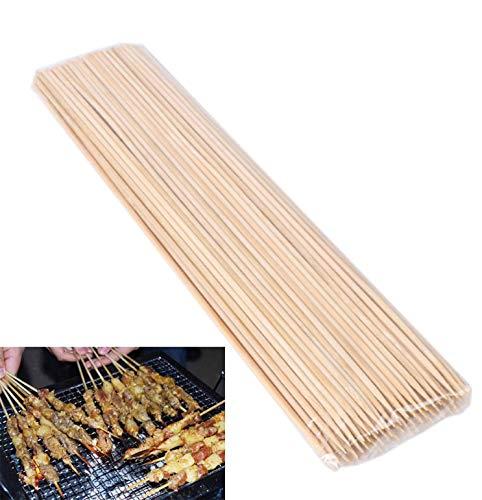 Oubaiyi 120 palillos de bambú para barbacoa 25 cm fuerte palillos de barbacoa de bambú pinchos para barbacoa fogata fondue kebab malvavisco tostado fuente de chocolate