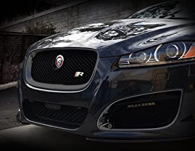 Mina Gallery Black Main Mesh Grille Replacement Assembly w R emblem for Jaguar XF & XFR 2012 2013 2014 2015 models