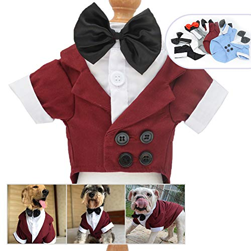 Lovelonglong Pet Costume Dog Suit Formal Tuxedo with Black Bow Tie for Large Medium Small Dogs Cat Wedding Clothes Reddish Brown L-XL