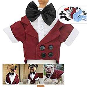 Lovelonglong Pet Costume Dog Suit Formal Tuxedo with Black Bow Tie for Large Medium Small Dogs Cat Wedding Clothes Reddish Brown M