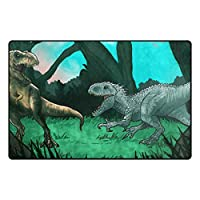 Bigleader カラフルな恐竜玄関マット屋内 ドアマット 泥落としマット 吸水 速乾耐磨耗性 抗菌防臭 滑り止め 屋外
