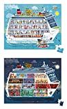 Janod- MALETÍN Redondo-2 PUZ.Barco DE Crucero Tampones, Multicolor (Juratoys SAS J02726)