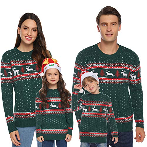 Aiboria Matching Family Ugly Christmas Reindeer Snowflakes Sweater Pullover Green Mom Large