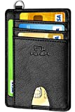 Photo de FurArt Portefeuille Minimaliste Fin, Porte-Cartes de Crédit avec Blocage Anti RFID, Les Femmes Hommes, Démontage Manille en D,Chèvre Noir