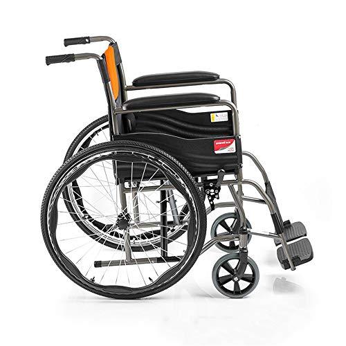 YH-LY Rollstuhl faltbar, Rollstuhl mit Trommelbremse Neuer Faltbarer manueller Rollstuhl des Haushaltsvollstahlrohrverstärkungsfreien Luftreifens