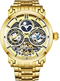 Stührling Original Mens Watch Stainless Steel Automatic, Gold Skeleton Dial, Dual Time, AM/PM Sun Moon, Stainless Steel Bracelet, 371B Watches for Men Series