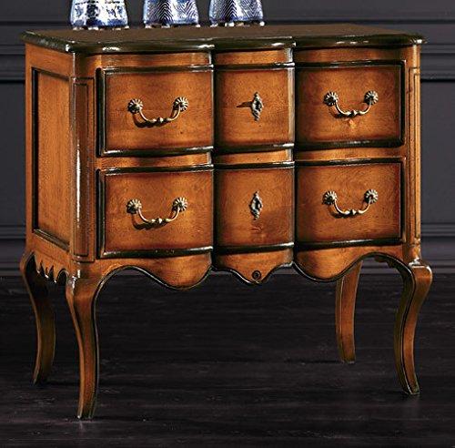 Table de Chevet avec 2 tiroirs, Style Classique, en Bois Massif et MDF avec Finition Bassano - Dim. 83 x 46 x 80