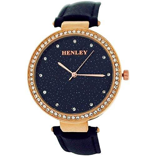 Henley Ladies Strass BES. blau glitzerndes Zifferbl. Damenuhr Leder H06107.3