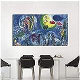 Marc Chagall Grand Cirque lienzo pintura impresión sala de estar decoración del hogar arte moderno pared arte pintura al óleo carteles imagen -50x100cm sin marco