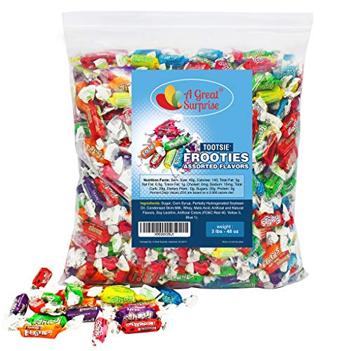Tootsie Rolls - Tootsie Roll Fruit Chews - Tootsie Frooties, Assorted Flavored Taffies, 3 LB Bulk Candy