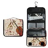 Funnyy - Bolsa de aseo para colgar con notas musicales, diseño de violín rosa y violín
