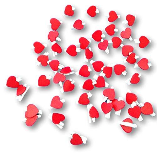EKNA Pinzas decorativas de madera con forma de corazón, juego para fotos, bodas, regalos, decoración, mini pinzas de corazón, color rojo (200 unidades)