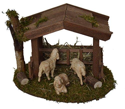 Unterstand mit Futterraufe und 3 Schafen für Weihnachtskrippe Krippenstall Krippenzubehör