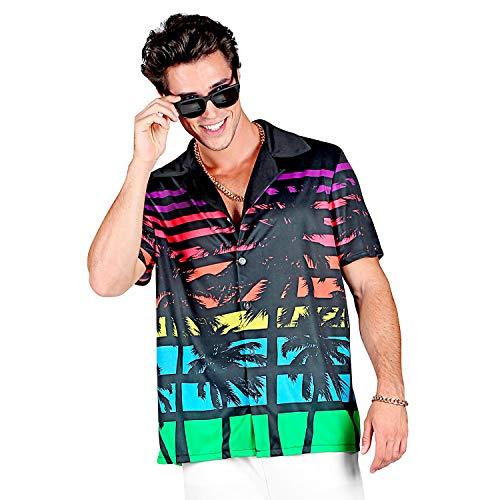 Widmann 05745 - 80er Jahre Miami Shirt, Hemd für Herren, mehrfarbig, T-Shirt, kurzarm, Kostüm, Strand, Karneval, Mottoparty