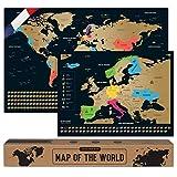 envami Carte du Monde a Gratter I en Français I Plus Carte Européenne I 68 X 43 CM I Dorée I...